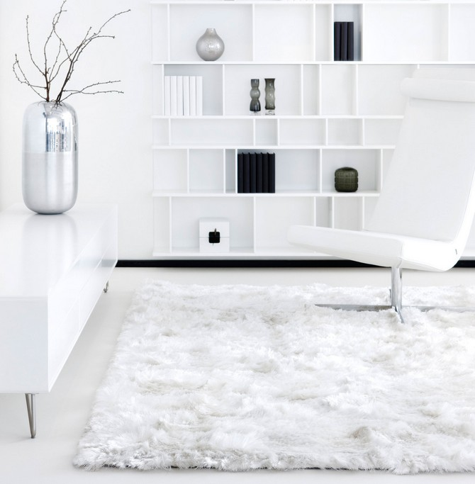 Tips on when you should use white contemporary rugs contemporary rugs How you should use white contemporary rugs living room white shag rug with white ceramic floor and white wall design also standing lamp fro family room ideas interesting white shag rug for modern family room ideas shag