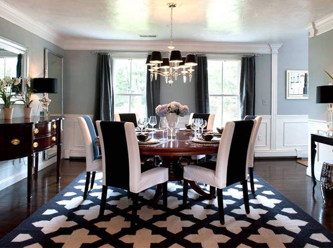 7 Rugs That You Will Covet This Fall modern rugs 7 Incredible Modern Rugs That You Will Covet This Fall Black and white pattern for dining room