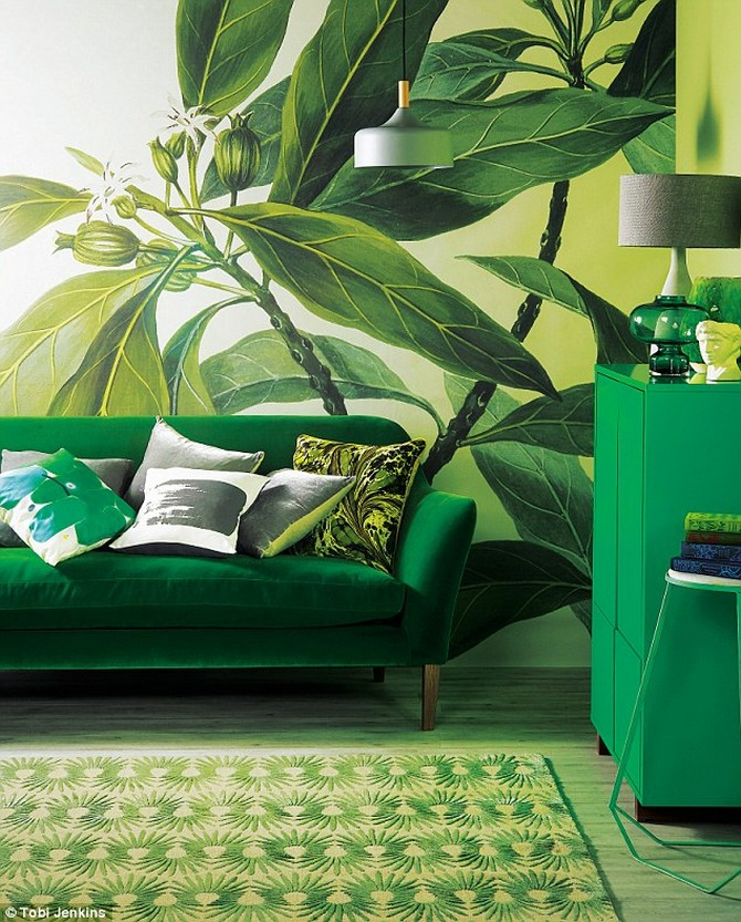 colorful rugs 10 Ways to Decorate Using Pantone's 2017 Colorful Rugs: Greenery 3E1D3E1700000578 4298152 SOFA 2 499 MARBLED CUSHION 95 and CLEAR VASE on cabinet 120 all  a 77 1489080756140