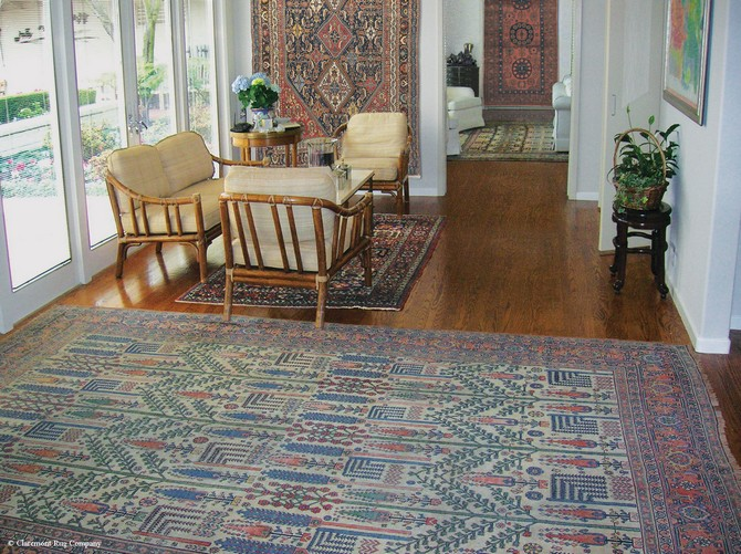 When patterned rugs find their place on the wall patterned rugs When Patterned Rugs Find Their Place on The Wall Full suite on walls and floors of high collectible 19th C rugs in SF home sunroom