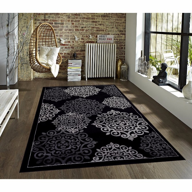 How To Style your home using black modern rugs  modern rugs How To Style your home using black modern rugs Persian rugs Modern Black Area Rug