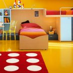Use colorful rugs to make the best bedroom decoration to your kids! colorful rugs Use colorful rugs to make the best bedroom decoration to your kids! bedroom gorgeous yellow red kid bedroom decoration using rectangular red polka dot bedroom rug along with yellow bedroom wall pa 145x145