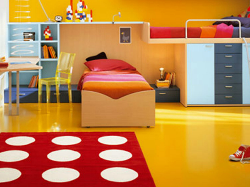 Use colorful rugs to make the best bedroom decoration to your kids! colorful rugs Use colorful rugs to make the best bedroom decoration to your kids! bedroom gorgeous yellow red kid bedroom decoration using rectangular red polka dot bedroom rug along with yellow bedroom wall pa