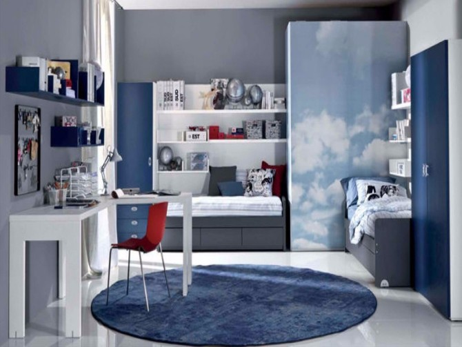 2017 Summer Trend Decoration Modern Rugs Blue Sky Modern Rugs: 2017 Summer Trend Decoration decoration ideas nice blue themes interior decors with floating bookshelf in bedroom added blue round areas rugs added grey sleeper couches for decorate contemporary boys bedroom inspir