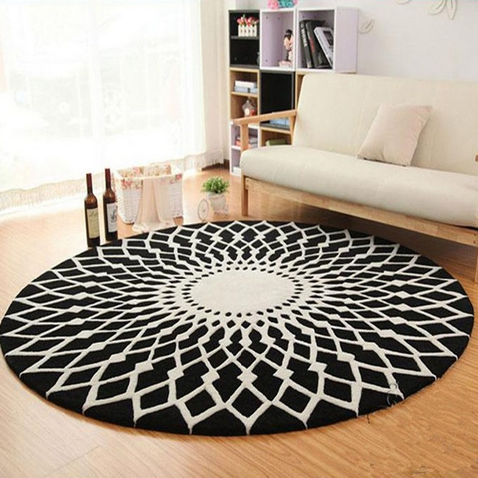 Learn How to Use Round Rugs in Your Decoration round rugs Learn How to Use Round Rugs in Your Decoration Abstract Geometric font b Rug b font And Carpet Kid Room Soft font b Round b