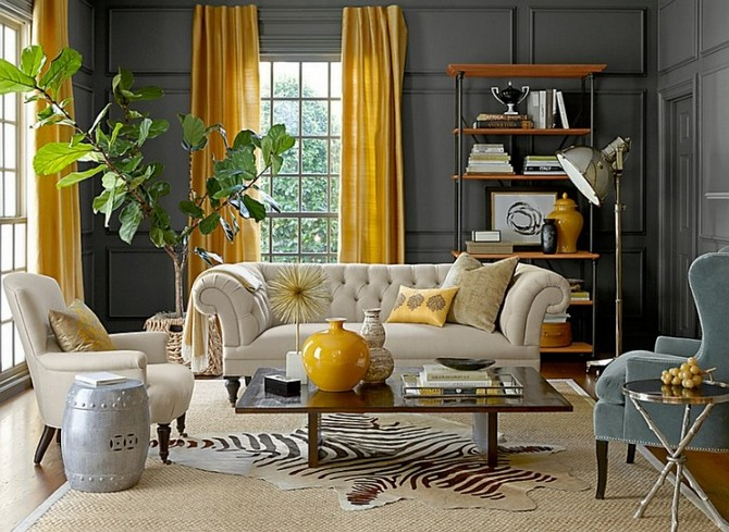 round rugs Learn how to use round rugs in your decoration beautiful grey yellow living room decor grey painted wall background yellow fabric vertical curtain beige zebra fabric rug beige wool textured carpet grey fabric arm sofa chair 728x531