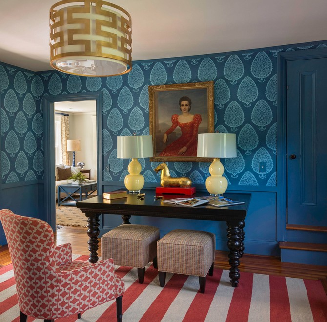 7 Bold Modern Rugs That Honor Fourth Of July Modern Rugs 7 Bold Modern Rugs That Honor Fourth Of July blue trim and blue wainscoting also blue wallpaper for beach style home office plus framed artwork and gold drum pendant light with red and white striped rug plus armchair