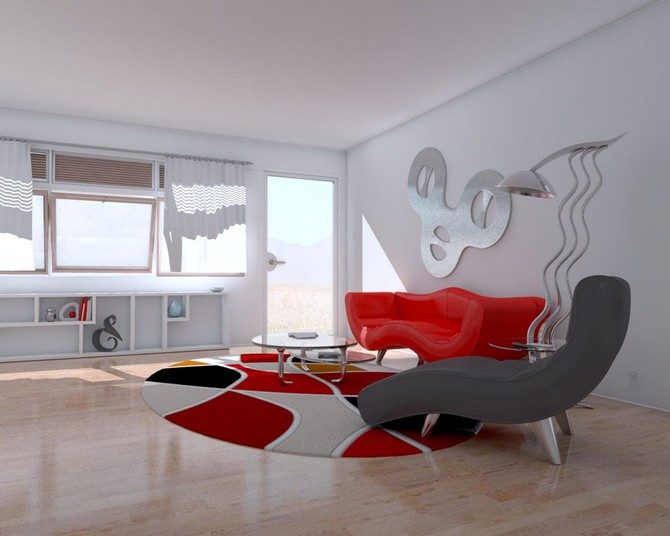 round rugs Learn how to use round rugs in your decoration living room wall decor ideas wooden flor modern rug red sofa sleeper sofa standing lamp round glass table wallmount shelves high window white roof