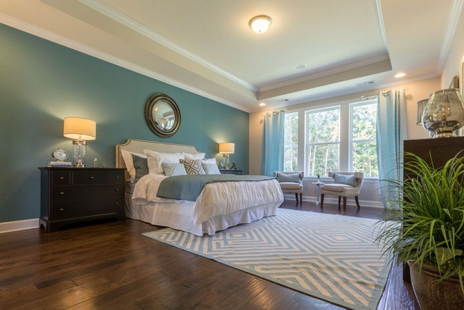 Top 10 Contemporary Rugs Part II contemporary rugs Top 10 Contemporary Rugs - Part II luxury teal master bedroom with tray ceiling wood floors and area rug