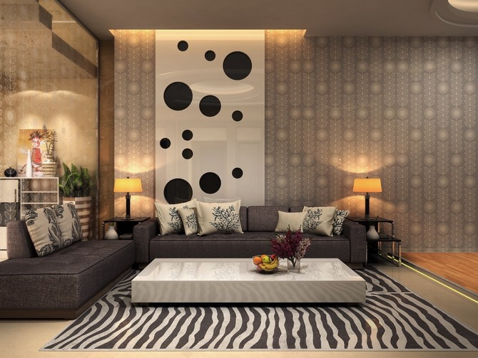 5 eye-catching rugs for a luxury home decor patterned rugs 5 eye-catching patterned rugs for a luxury home decor chic living room design idea with polka dot wallpaper and zebra pattern rug feat low white coffee table plus minimalist gray sofa