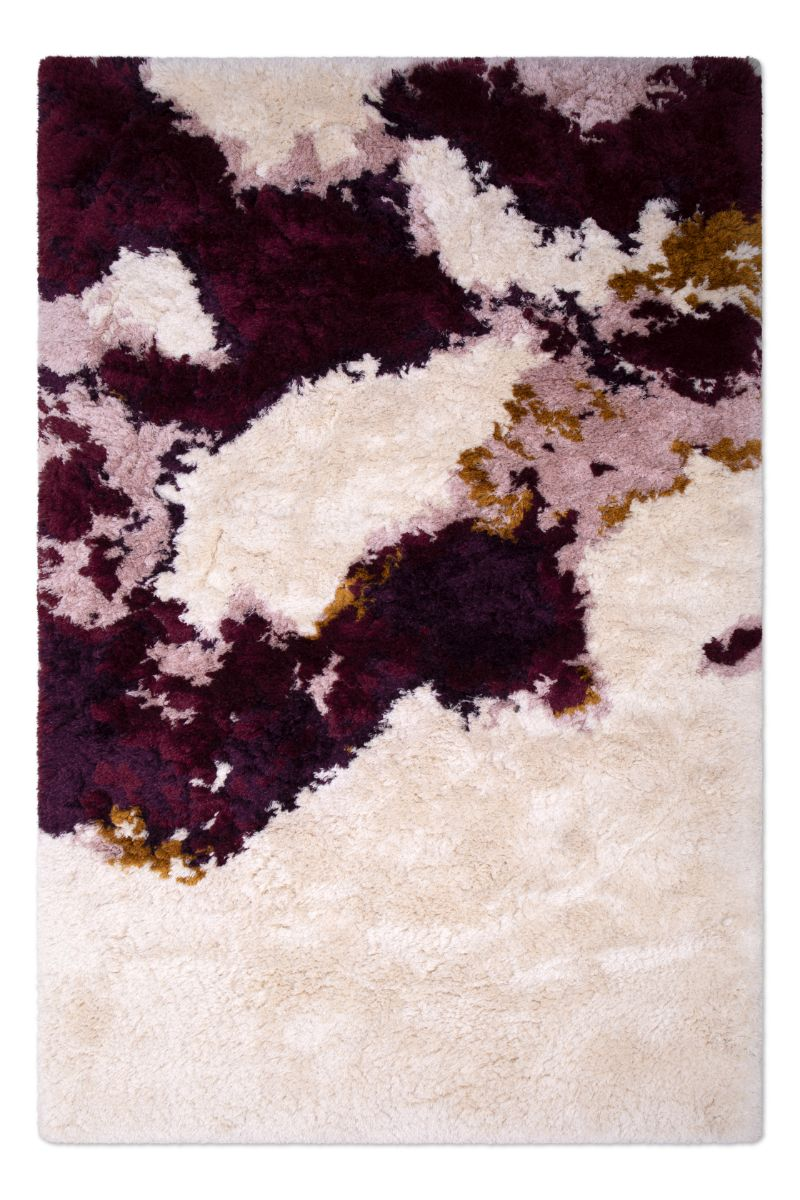 Wall Rug Interior Decoration by Lauren Williams, Ted rug from the Shaggy collection in blue, white and brown colors.