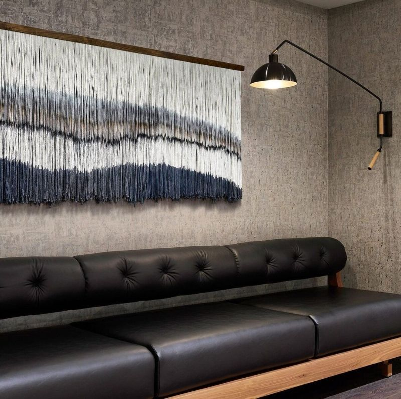 Wall Rug Interior Decoration by Lauren Williams, gray wall rug in blue tones