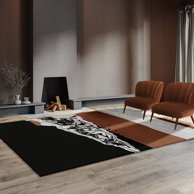Full-Proof living room designs focusing on your rug Modern living room with disruption rug in black and brown colors