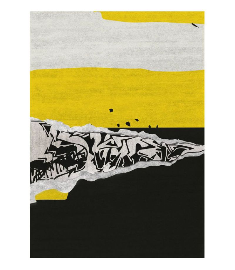 Full-Proof living room designs focusing on your rug disruption rug in black and yellow